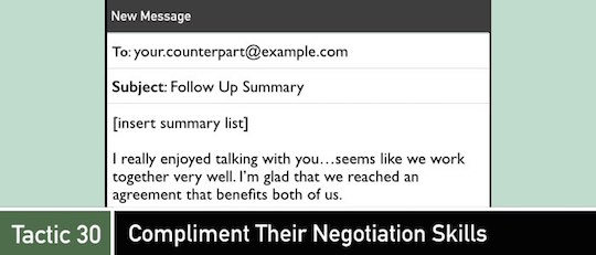 Negotiation Tactic 30: Compliment Their Negotiation Skills