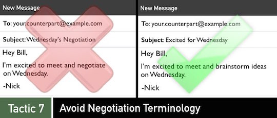 Negotiation Tactic 7: Avoid Negotiation Terminology