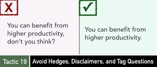 Tactic 19: Avoid Hedges, Disclaimers, and Tag Questions