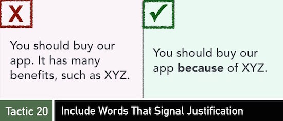 Tactic 20: Include Words That Signal Justification