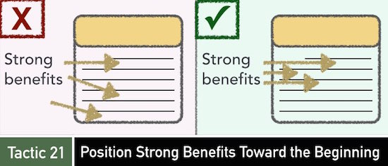 Tactic 21: Position Strong Benefits Toward the Beginning
