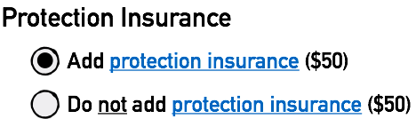 Default Option to Add Protection Insurance