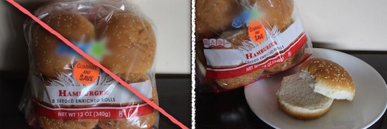 Hamburger Buns Removed from Packaging