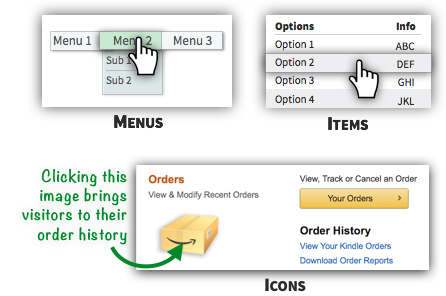 UX Tactic 116 - Hyperlink Primary Menus, List Items, and Complementary Icons