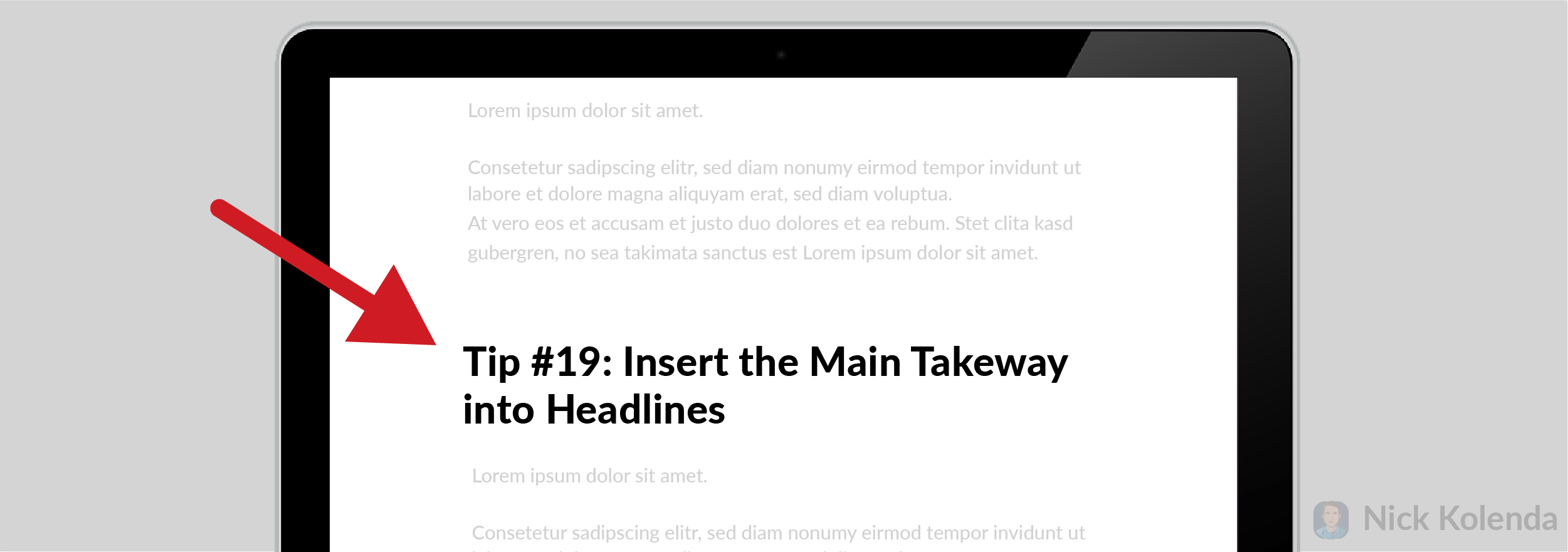 """Headline inside a page that says """"Tip 19: Insert the Main Takeaway into Headlines"""""""