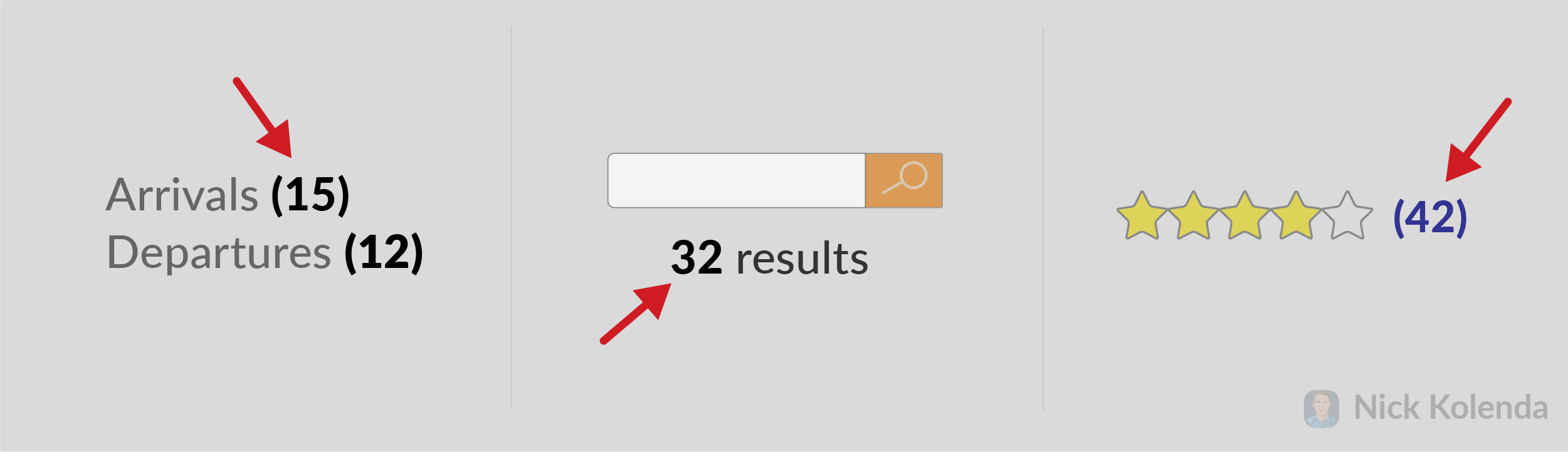 Numbers that indicate number of reviews and search results