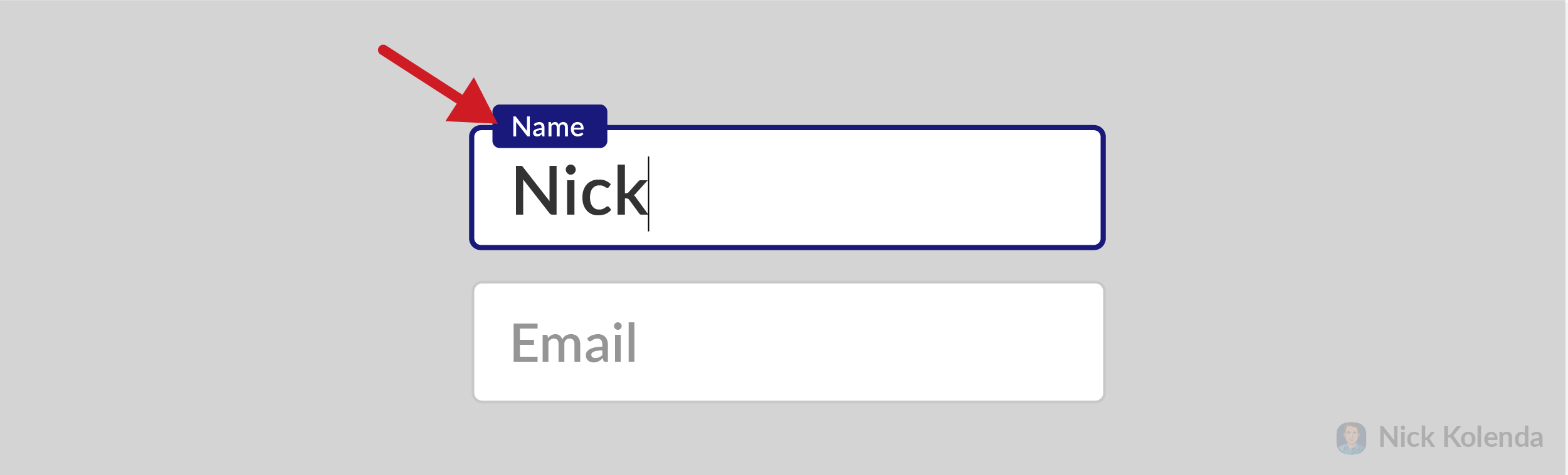 Name of input field above the field while user is typing in it