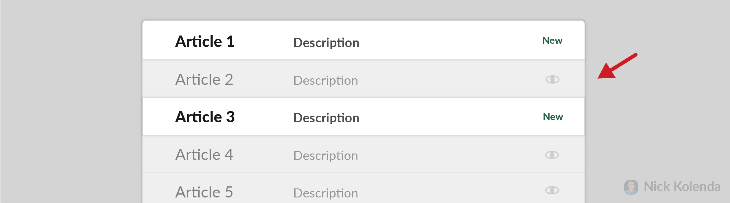 List of options with some options greyed out