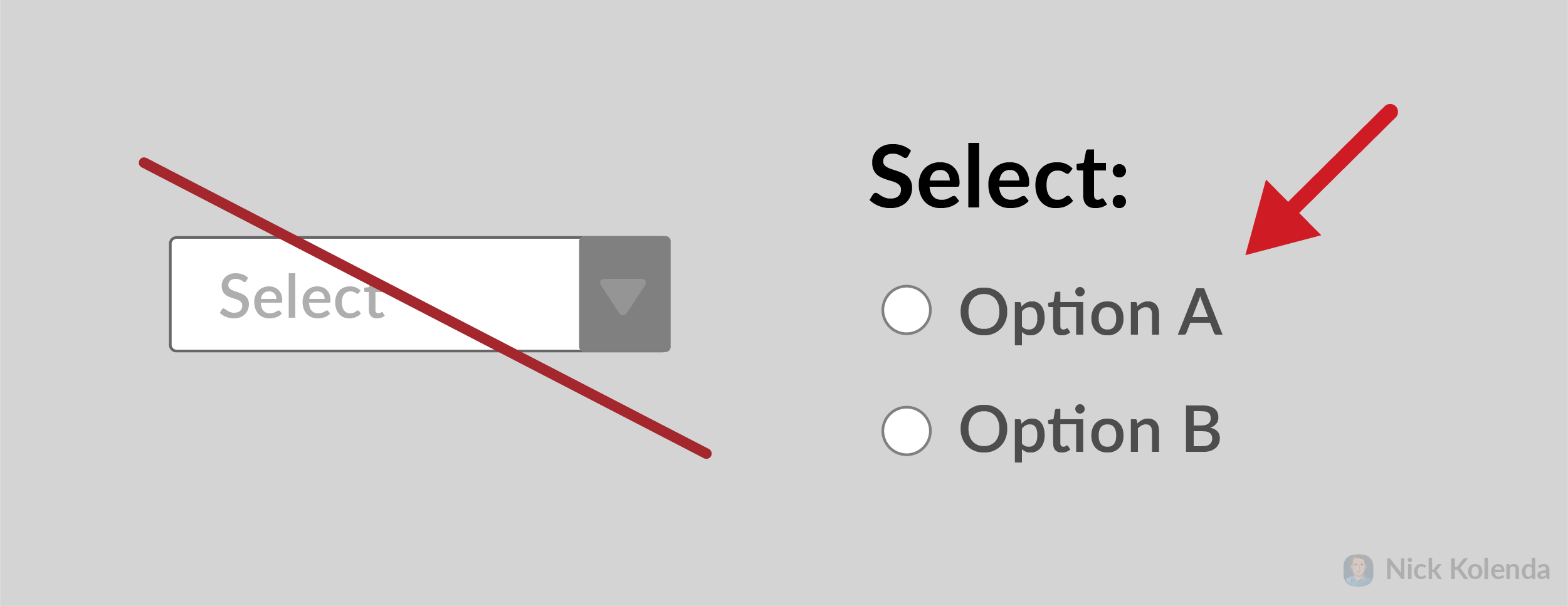 Two options in radio buttons (rather than inside a drop down menu)