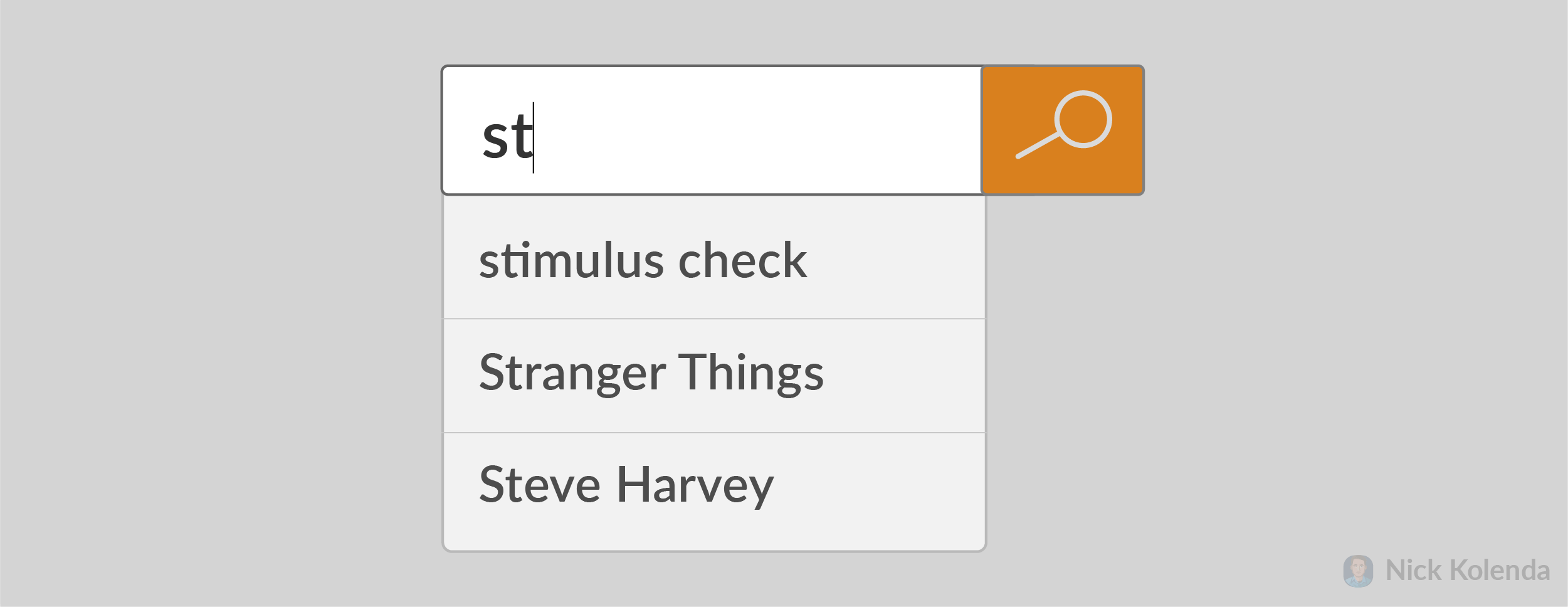 """User typing """"St..."""" with possible options appearing"""