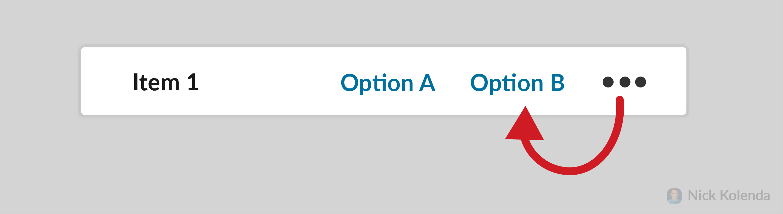 Placing option next to a clickable menu that appears