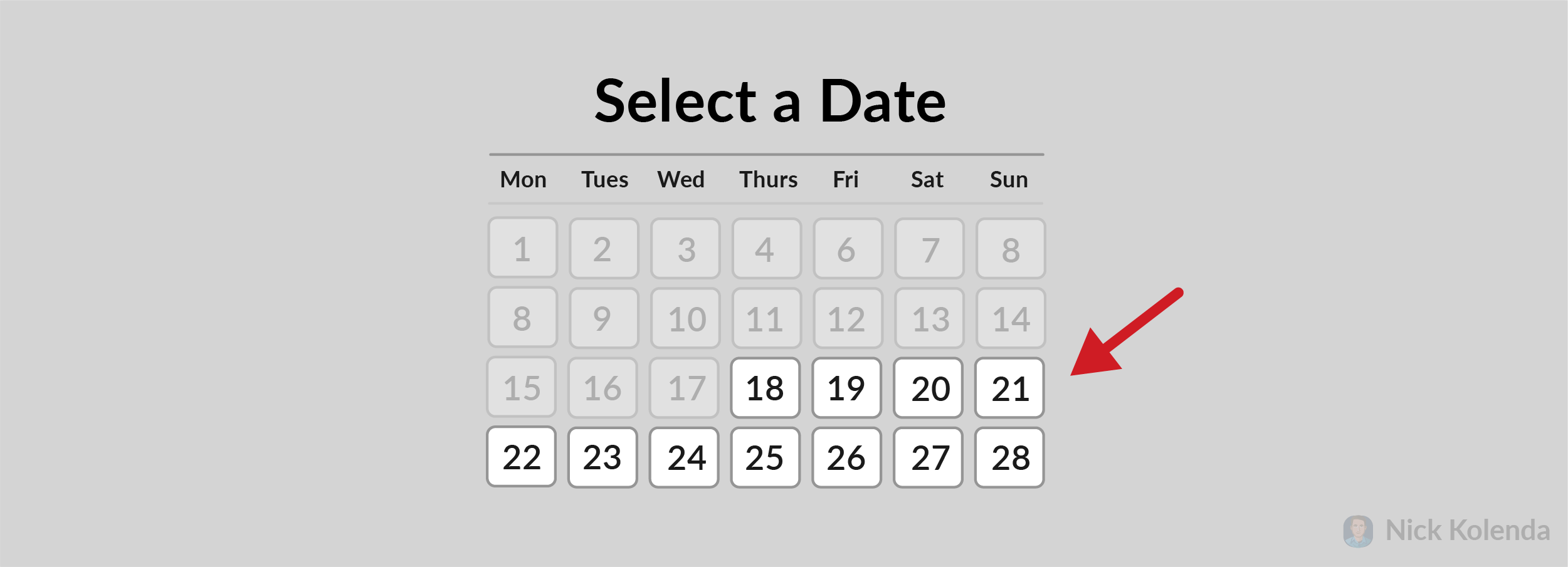 Calendar that only shows available dates