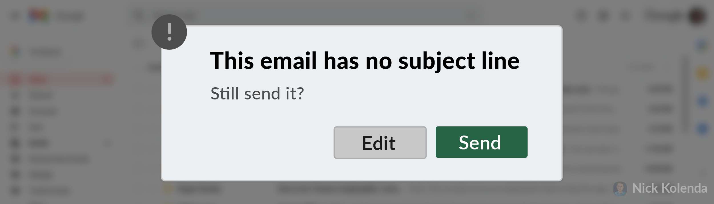 This email has no subject line. Still send?