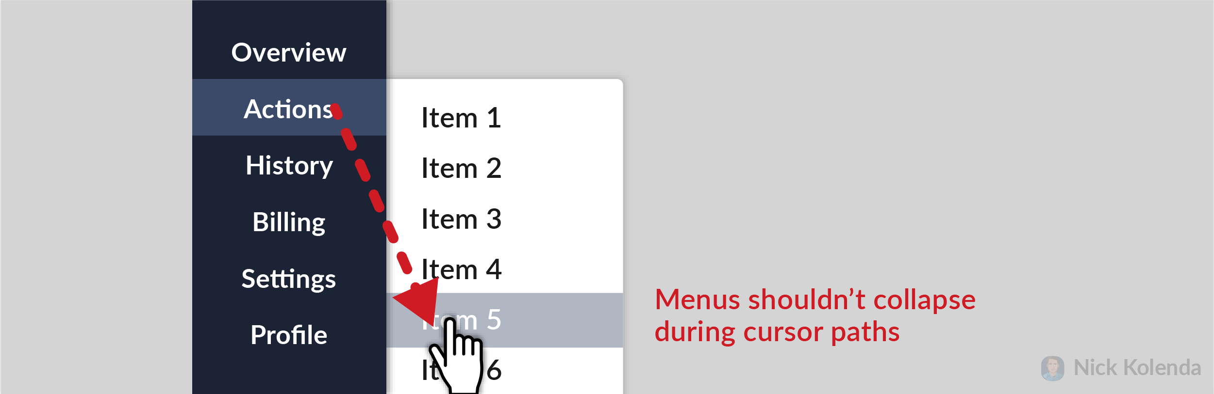 Briefly moving cursor away from menu shouldn't collapse it