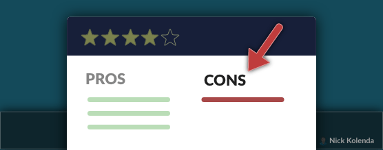 """An online review with a """"con"""" section"""