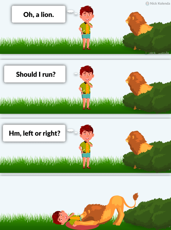 Boy getting eaten by lion because he spent too long debating what to do