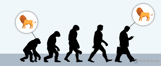 Ape evolving into man, endowing man with fear of lions