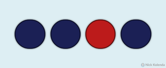 3 blue circles with 1 red circle popping out