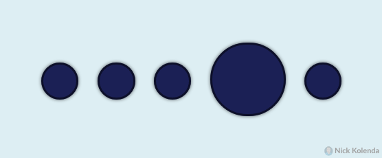4 small circles with 1 large circle popping out