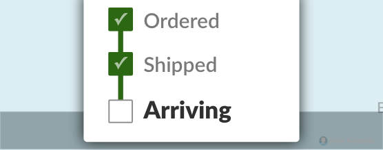 Checkboxes moving from Ordered to Shipped to Delivered