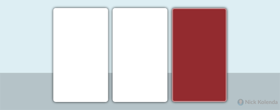 Two white rectangles next to a red rectangle