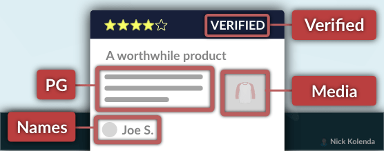 """Review with Name, Image, and """"Verified"""" Marker"""