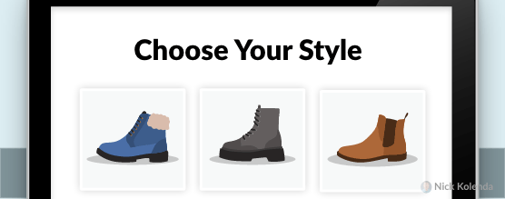 Popup that asks visitors to choose the styling of clothing