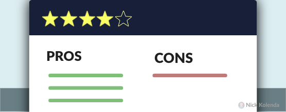 A 4-star rating with pros and cons